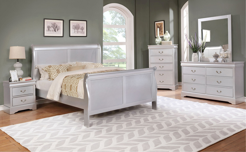 Louis Philippe Silver Twin Bed