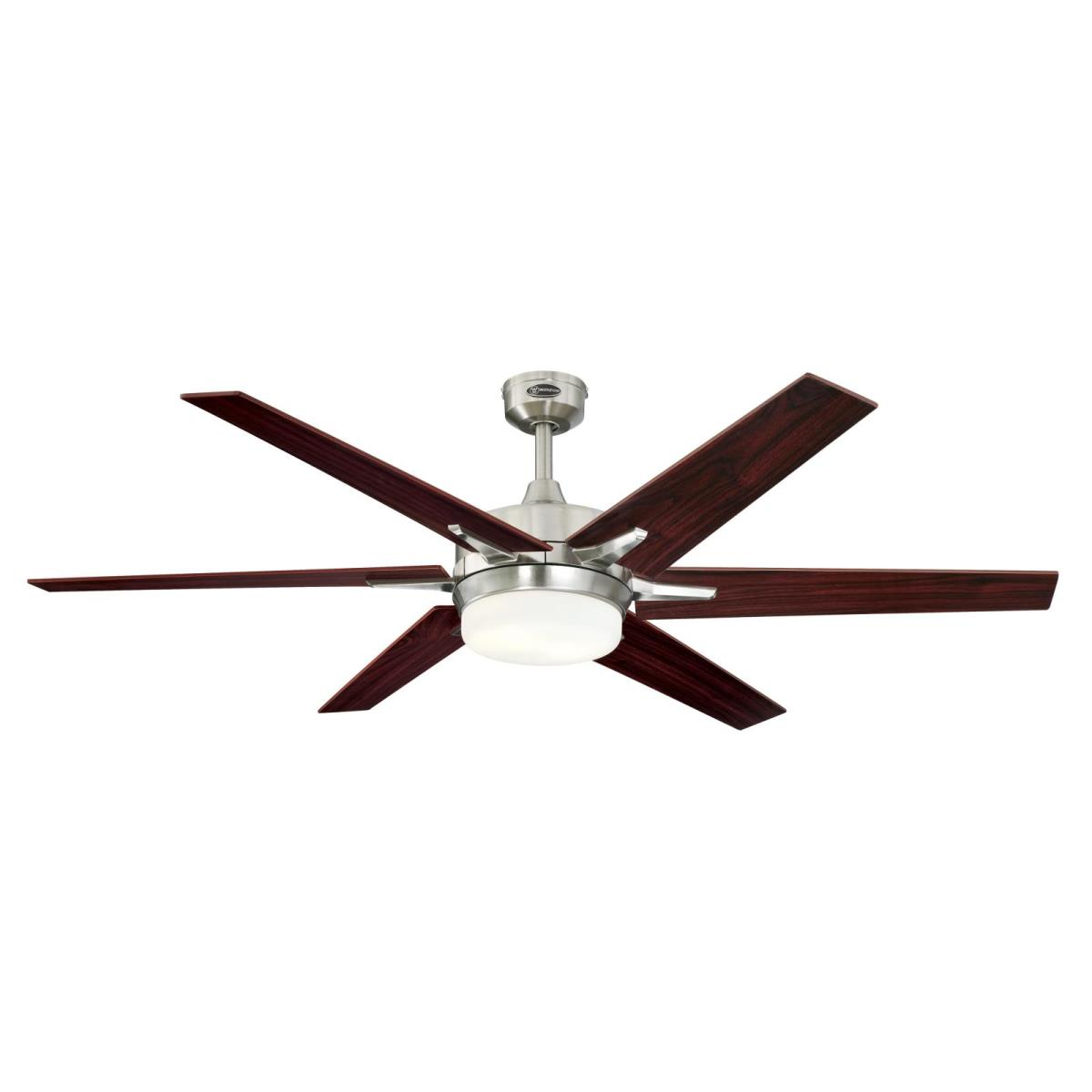 """60"""" Brushed Nickel Finish Reversible Blades (Rosewood/Light Maple) Includes Light Kit with Opal Frosted Glass"""