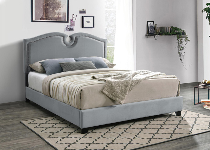 Bedroom Kimberly Scalloped Queen Bed, Gray