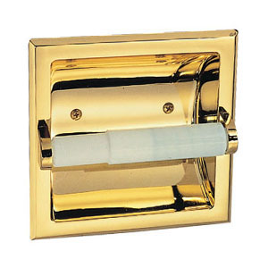 Millbridge Recessed Toilet Paper Holder, Polished Brass