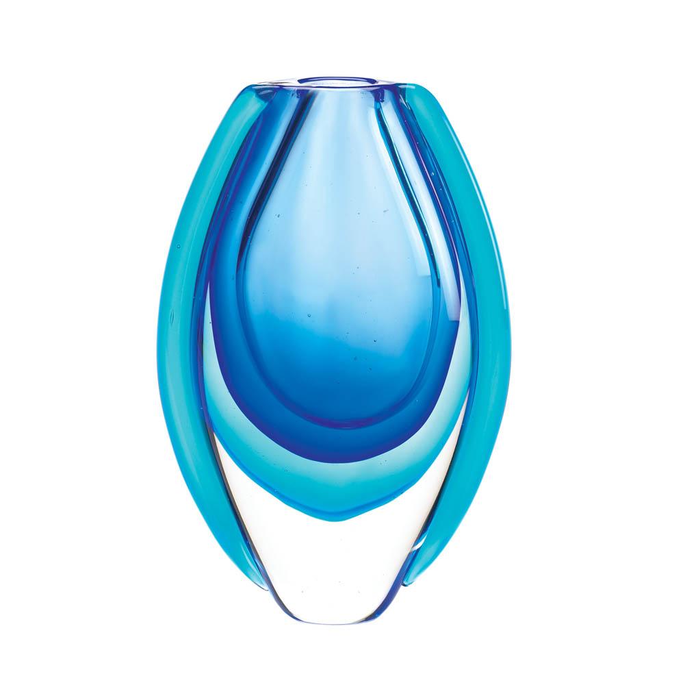 Azure Blue Art Glass Vase