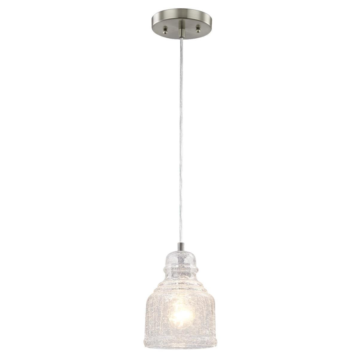 1 Light Mini Pendant Brushed Nickel Finish with Clear Crackle Glass