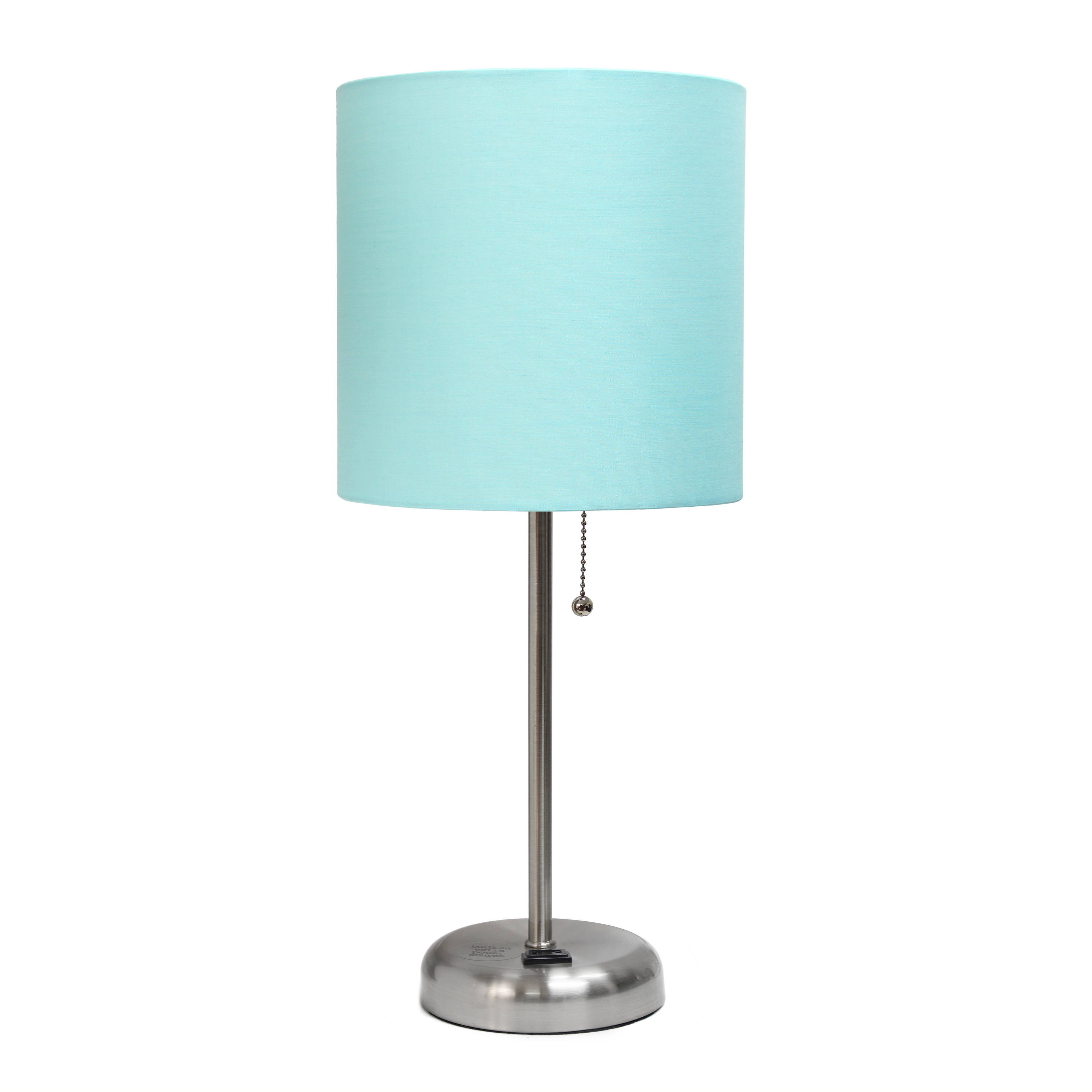LimeLights Stick Lamp with Charging Outlet and Fabric Shade, Aqua