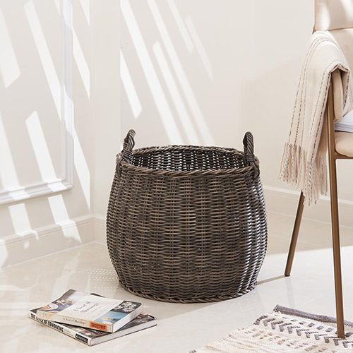 Valeria 18-Inch Resin Round Plant Pot and Laundry Basket with Handles- Size L