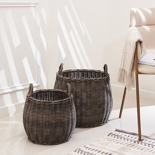Valeria 2-Piece Assorted Resin Round Plant Pot and Laundry Basket Set with Handles
