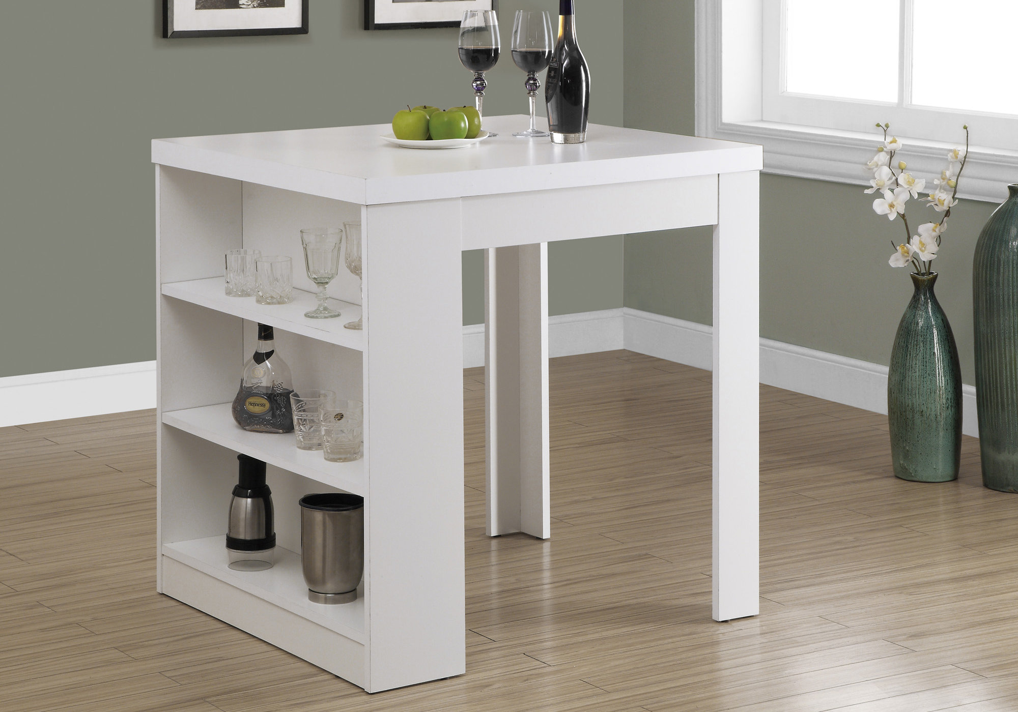 "30"" White Particle Board Hollow Core and MDF Counter Height Dining Table"