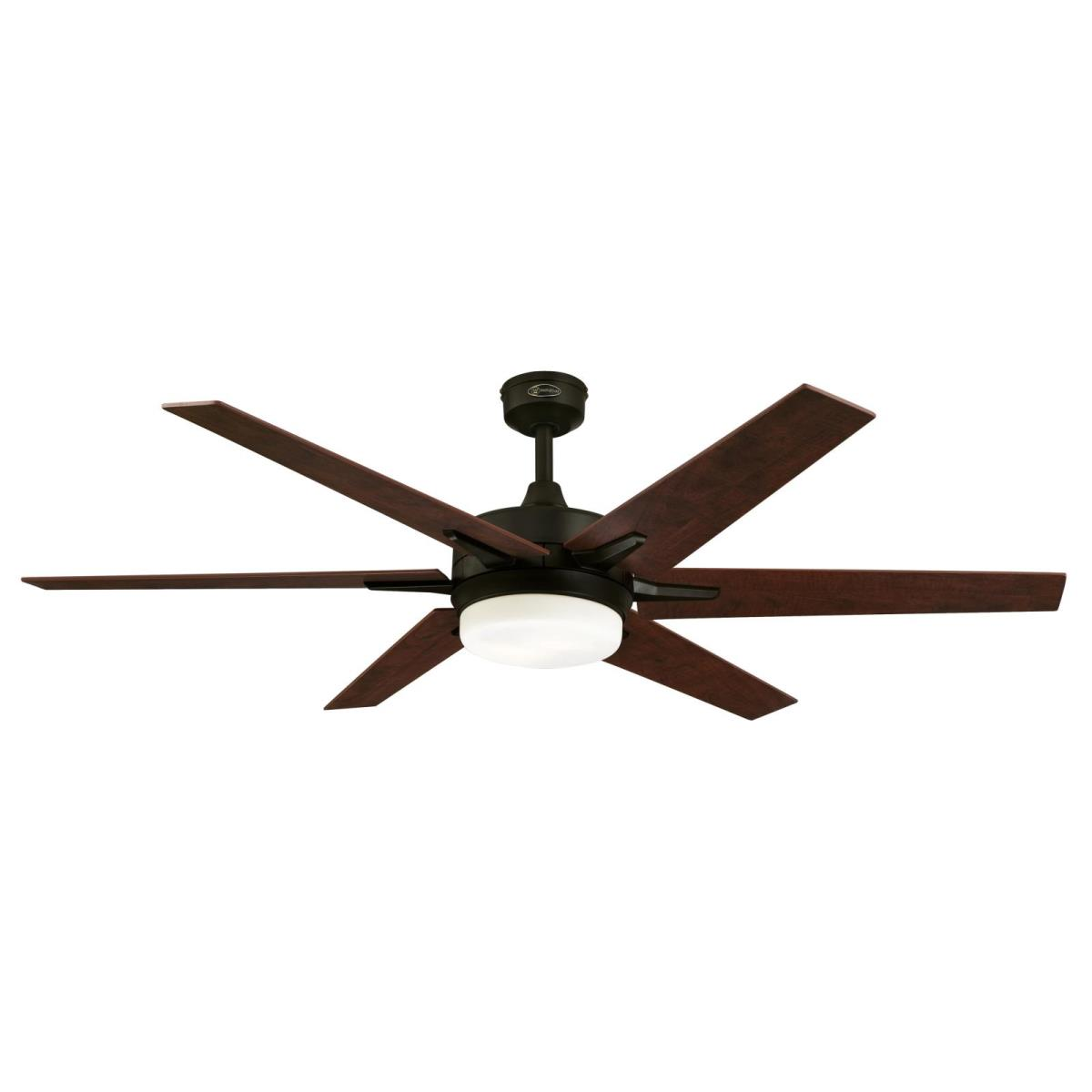 """60"""" Oil Rubbed Bronze Finish Reversible Blades (Applewood/Cherry) Includes Light Kit with Opal Frosted Glass"""