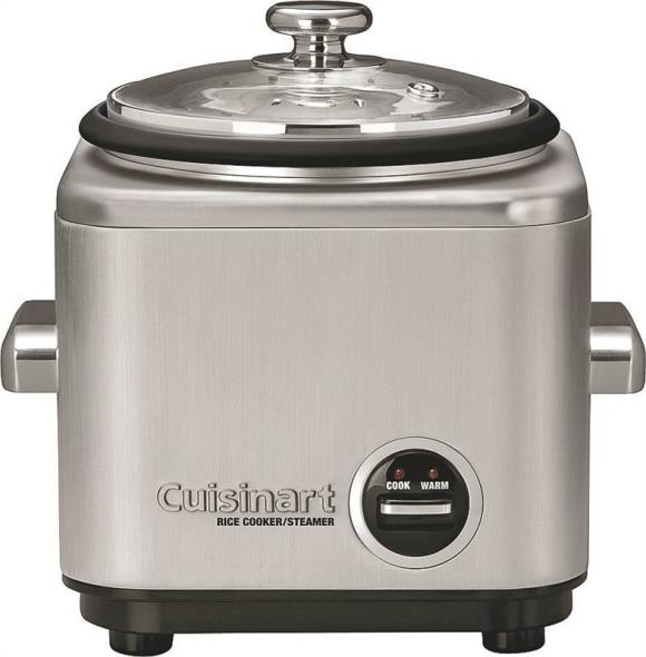 Cuisinart CRC-400 Rice Cooker, 4 Cup, 8-1/4 in H x 9.37 in W x 8.62 in L, Stainless Steel, Brushed