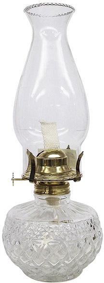 L399CL 13 IN. CLEAR DIAMOND OIL LAMP