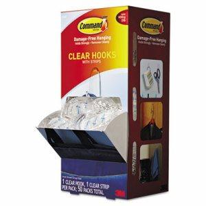 Clear Hooks & Strips, Plastic, Medium, 50 Hooks w/50 Adhesive Strips per Carton