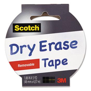"Dry Erase Tape, 1.88"" x 5yds, 3"" Core, White"