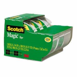 "Magic Tape in Handheld Dispenser, 3/4"" x 300"", 1"" Core, Clear, 3/Pack"