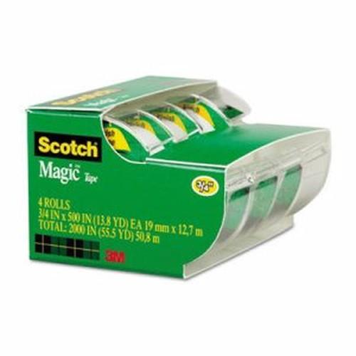 "Magic Tape in Handheld Dispenser, 3/4"" x 300"", 1"" Core, Clear, 4/Pack"