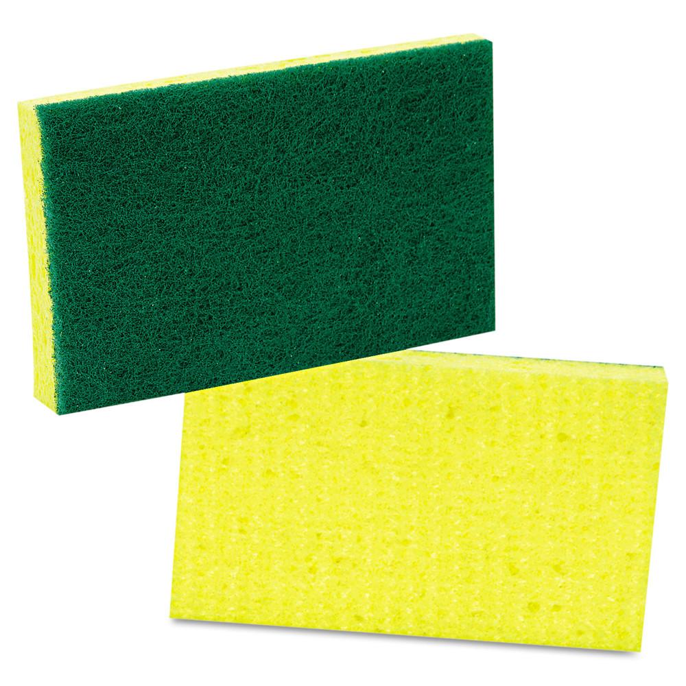 Medium-Duty Scrubbing Sponge, 3 1/2 x 6 1/4, Yellow/Green, 20/Carton