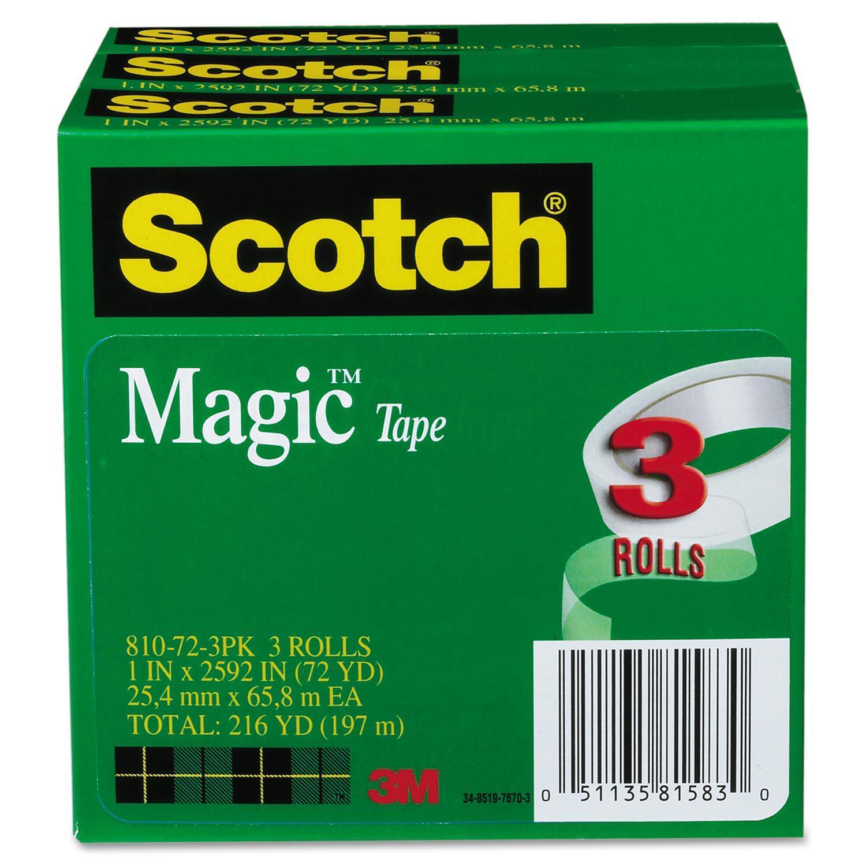 """Magic Tape, 1"""" x 2592"""", 3"""" Core, 3/Pack"""
