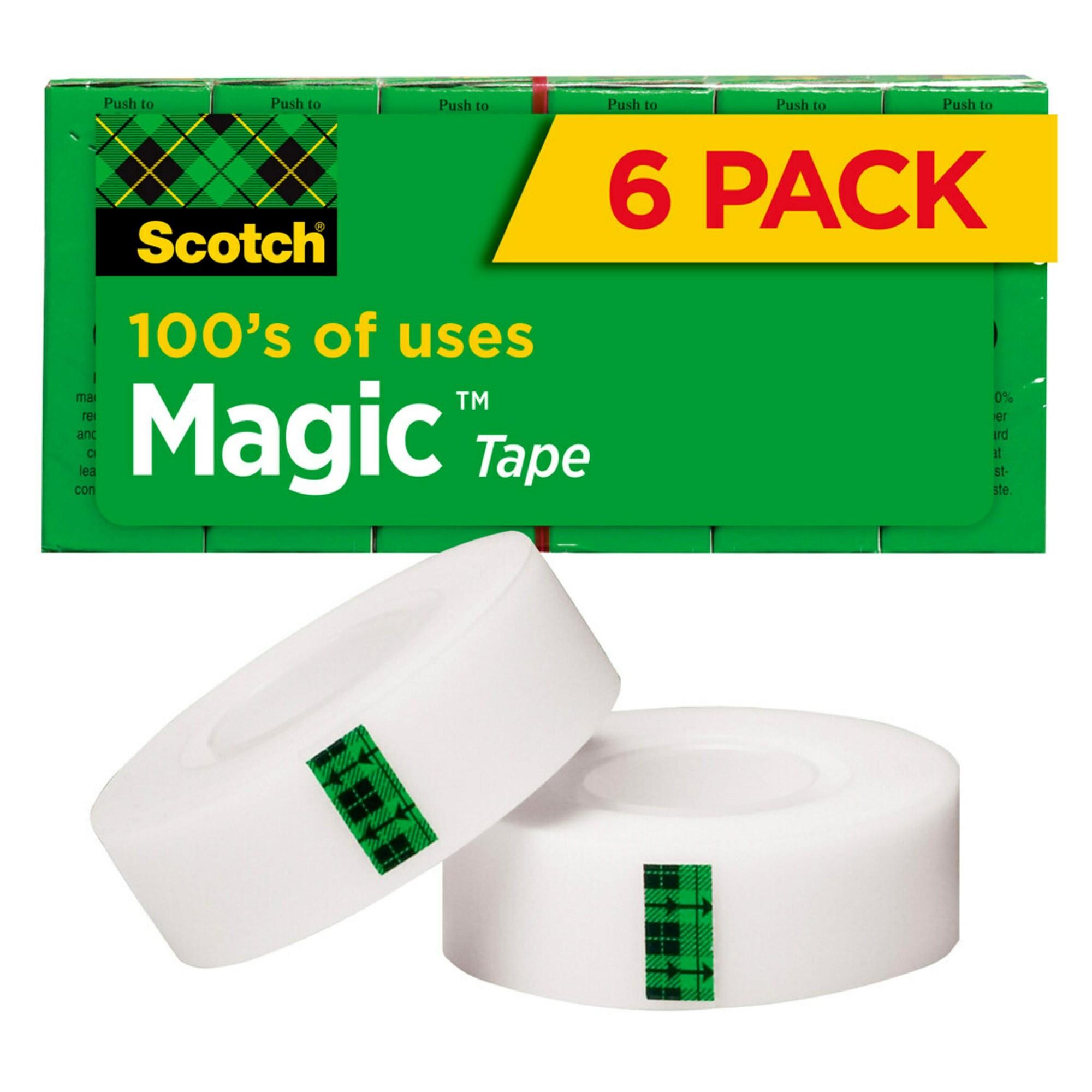 "Magic Tape Refill, 3/4"" x 1000"", 1"" Core, Clear, 6/Pack"