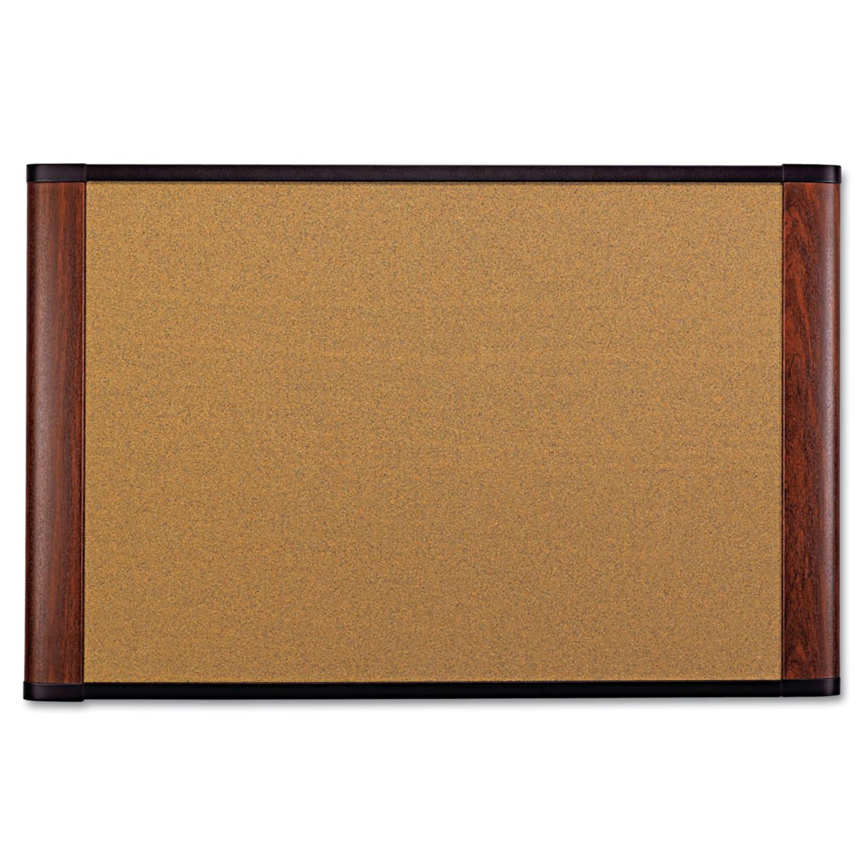 Cork Bulletin Board, 36 x 24, Aluminum Frame w/Mahogany Wood Grained Finish