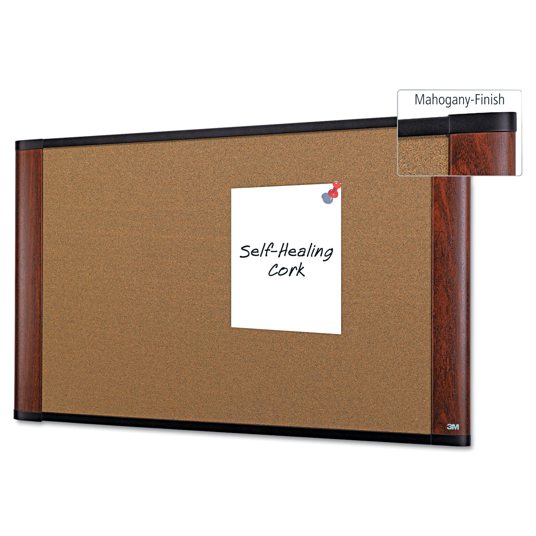 Cork Bulletin Board, 48 x 36, Aluminum Frame w/Mahogany Wood Grained Finish