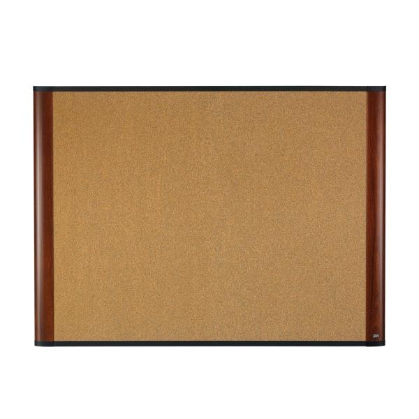 Cork Bulletin Board, 72 x 48, Aluminum Frame w/Mahogany Wood Grained Finish