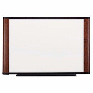 Melamine Dry Erase Board, 72 x 48, Mahogany Frame