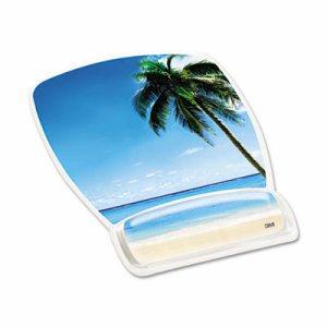 Fun Design Clear Gel Mouse Pad Wrist Rest, 6 4/5 x 8 3/5 x 3/4, Beach Design
