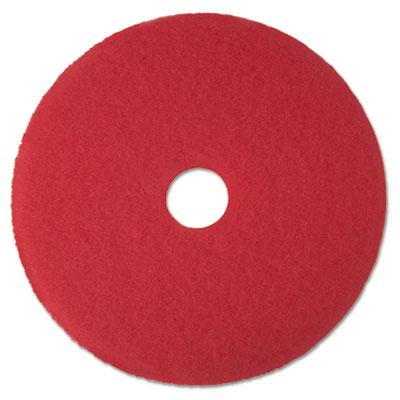 "Low-Speed Buffer Floor Pads 5100, 15"" Diameter, Red, 5/Carton"