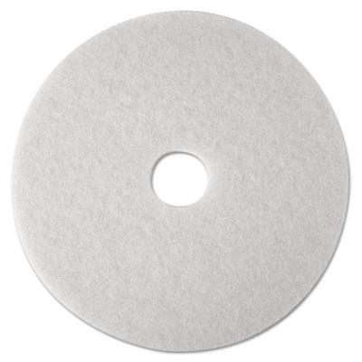 "Low-Speed Super Polishing Floor Pads 4100, 14"" Diameter, White, 5/Carton"