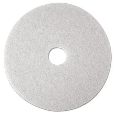 "Low-Speed Super Polishing Floor Pads 4100, 16"" Diameter, White, 5/Carton"