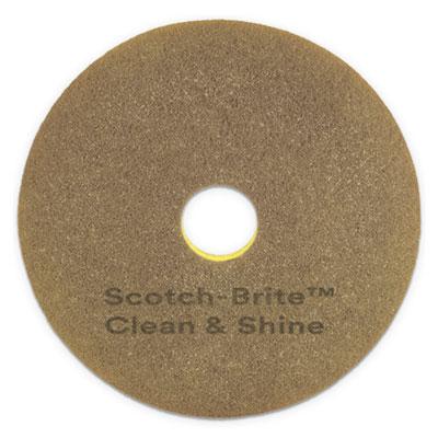 "Clean and Shine Pad, 20"" Diameter, Yellow/Gold, 5/Carton"