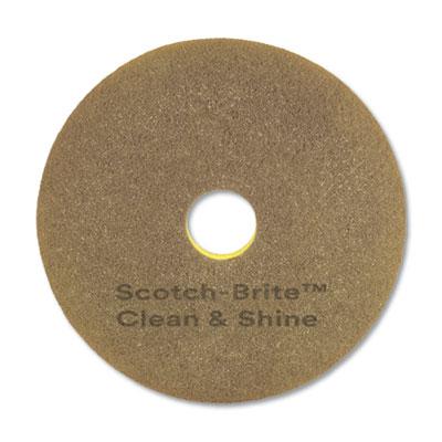 "Clean and Shine Pad, 17"" Diameter, Yellow/Gold, 5/Carton"