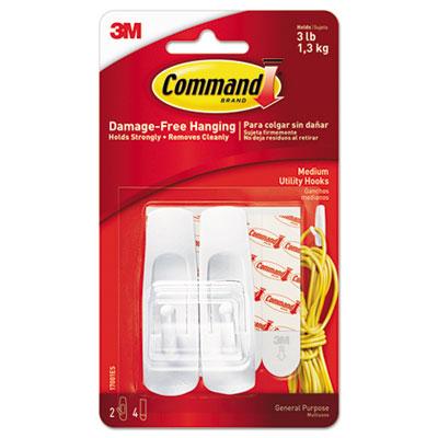 General Purpose Hooks, 3lb Capacity, Plastic, White, 2 Hooks & 4 Strips/Pack