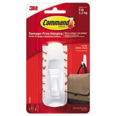 General Purpose Hooks, 5lb Capacity, Plastic, White, 1 Hook & 2 Strips/Pack