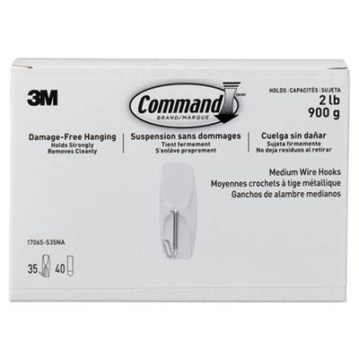 General Purpose Hooks, Metal, White, 2 lb Cap, 35/Pack