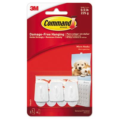 General Purpose Hooks, Plastic, White, 3 Hooks & 4 Strips/Pack