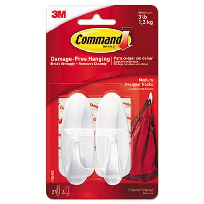 General Purpose Hooks, Designer, Holds 3lb, White, 2 Hooks & 4 Strips/Pack