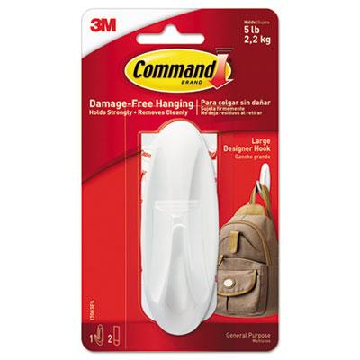 General Purpose Hooks, Large, 5lb Cap, Plastic, White, 1 Hook & 2 Strips/Pack