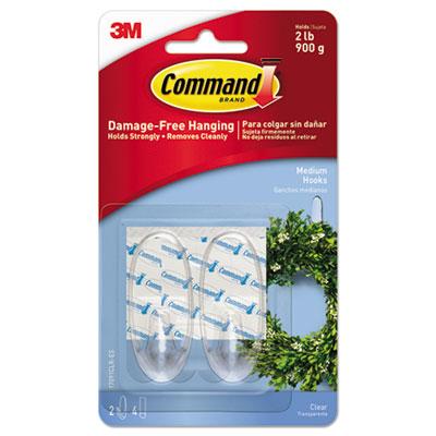 Clear Hooks & Strips, Plastic, Medium, 2 Hooks & 4 Strips/Pack