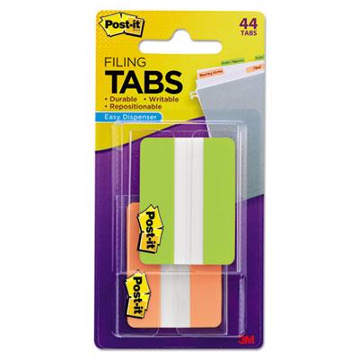 File Tabs, 2 x 1 1/2, Solid, Green/Orange, 44/Pack