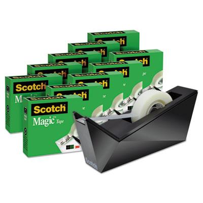 """Magic Tape Designer Dispenser Value Pack, Facet Design, 3/4""""x1000"""", 10 Rolls/PK"""
