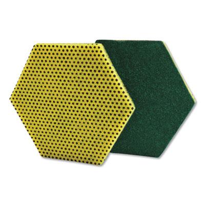 """Dual Purpose Scour Pad, 5"""" x 5"""", Gray/Yellow, 15/Carton"""