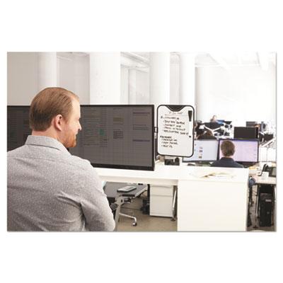 Monitor Whiteboard, 10 Sheet Capacity, Plastic, Black/White