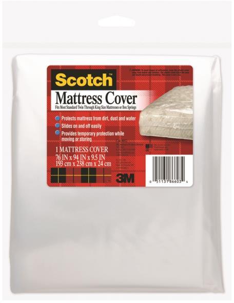 Scotch 8032 King/Queen Mattress Cover, 76 in L X 94 in W X 9-1/2 in H, Clear