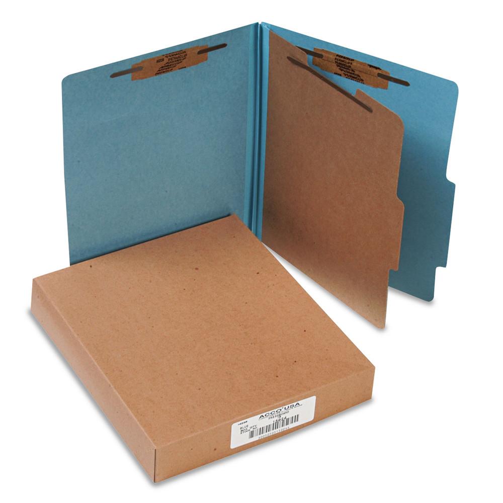 Pressboard 25-Pt Classification Folders, Letter, 4-Section, Sky Blue, 10/Box