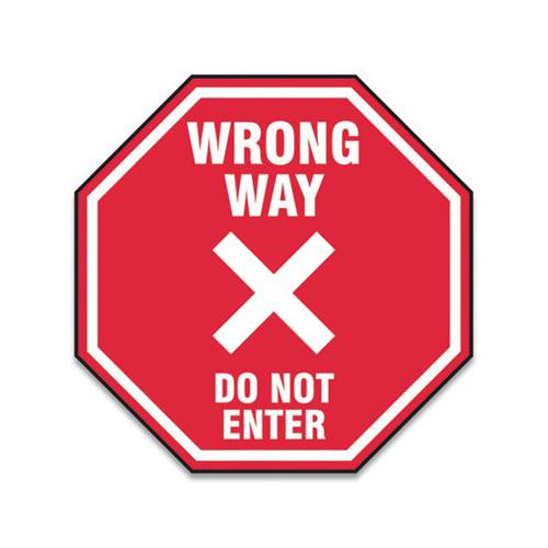 "Slip-Gard Social Distance Floor Signs, 12 x 12, ""Wrong Way Do Not Enter"", Red, 25/Pack"