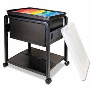 Folding Mobile File Cart, 14-1/2w x 18-1/2d x 21-3/4h, Clear/Black