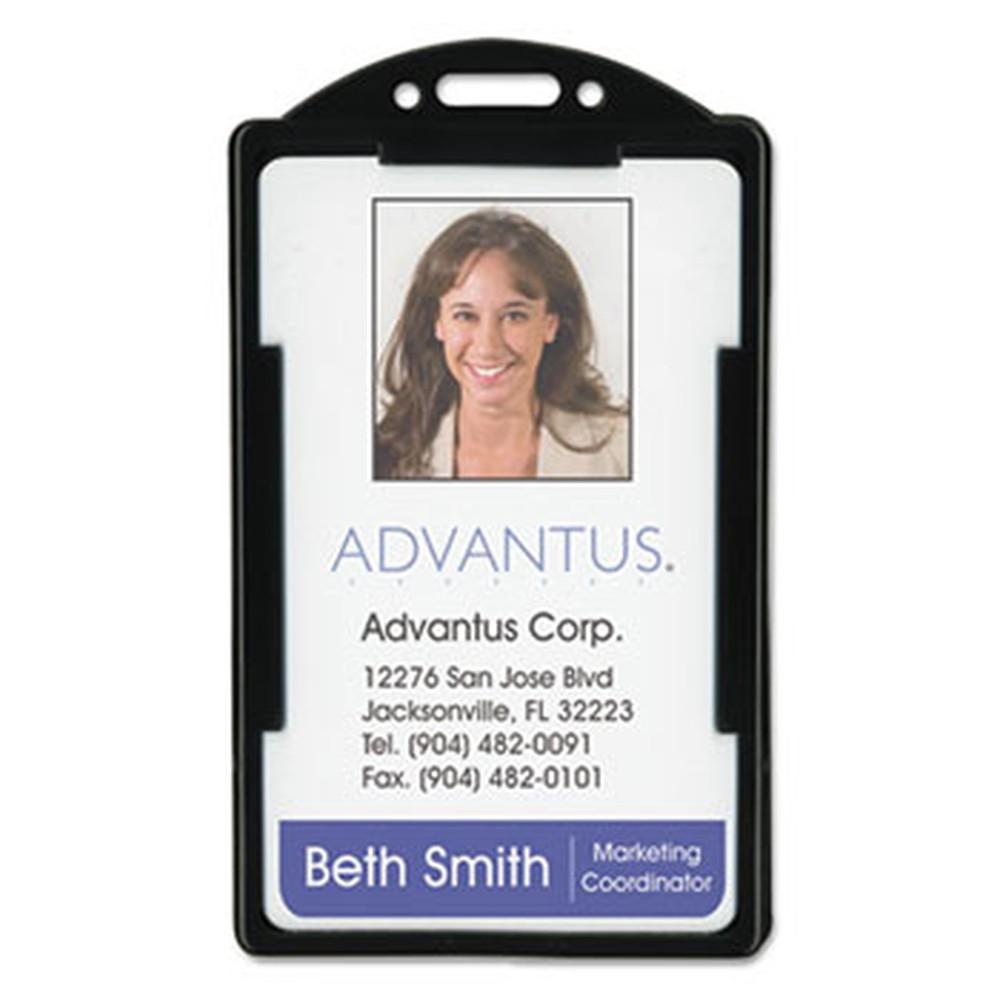 Vertical ID Card Holders, 2 1/8 x 3 3/8, Black, 25 per Pack