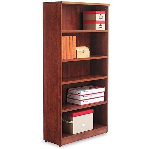 Alera Valencia Series Bookcase, Five-Shelf, 31 3/4w x 14d x 65h, Mahogany