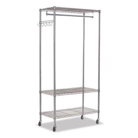Wire Shelving Garment Rack, 30 Garments, 36w x 18d x 75h, Silver