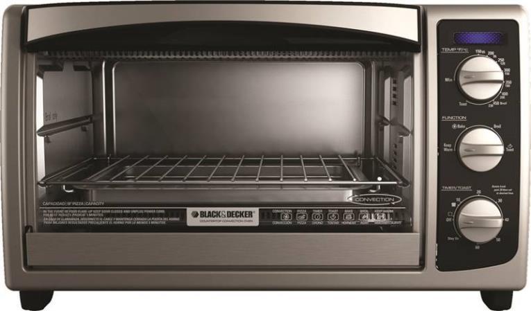 Black & Decker TO1675B Conventional Toaster Oven, 6 Slice, 450 deg F, 60 min