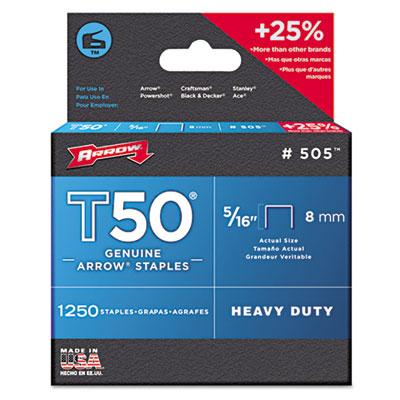 """T50 Heavy Duty Staples, 5/16"""" Leg, 1250/Pack"""